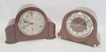 Walnut-cased Art Deco style mantel clockby Enfield, Arabic numerals to the dial and another