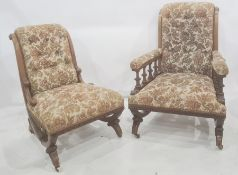 Two late Victorian walnut chairs, one open armchair and one salon chair both with carved stud