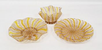 Venetian latticino glass platein yellow, one further similarand bowl(3) Condition