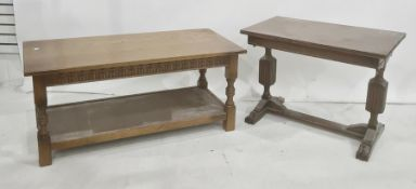 20th century oak coffee table on turned and block supports, shelved undertier and one further (2)