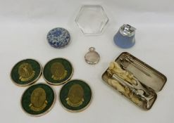 Wedgwood table lighter, a blue and white lidded pot, a glass paperweight in the form of eagle's
