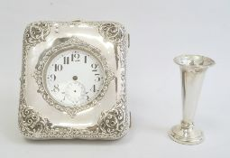 An early 20th century silver coloured pocket watch, enamel Arabic numeral dial, in a silver