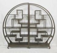 Pair of Chinese hardwood displayshelveseach of semi-circular design with numerous levels of
