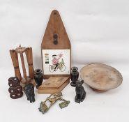 Assorted itemsto include AA badge, letter opener, ebony elephant, Cornish Pisky brass badge,