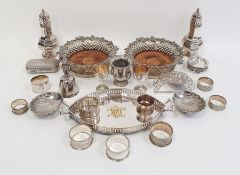 Pair plated sugar casters, pair silver plated wine bottle coasters with fruiting vine borders,