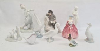 Royal Doulton china figure 'Genevieve',  four Nao porcelain bird groups and models and small