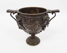 Grand Tour bronze two-handled footed vase with classical allegorical reliefs, viz: putto in