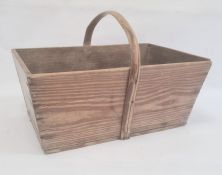 Pine trug/basket Condition ReportTop measures 47 x 29 cm, bottom 40 x 24 cm and is 19 cm deep..