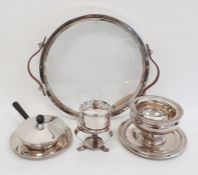Swiss silver plated, glass and leather stand/tray, circular with pair leather handles, on four