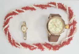 Titoni 21 Jewels wristwatch, an Invicta wristwatch and a coral and cultured pearl necklace (3)