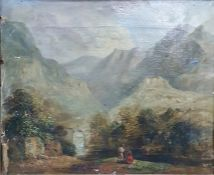 19th century Continental school Oil on canvas Figures conversing in foreground, mountainous