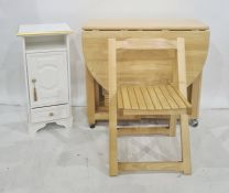 Modern beech folding table with folding seats and modern bedside table (2)