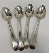 A set of four George IV silver tablespoons, all with initialled handles 'CB', London 1832, makers