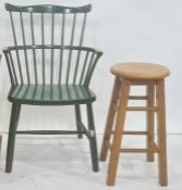 Painted modern stickback Windsor chair and modern stool (2)