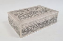 Indo China cigar box, rectangular with detailed repousse decoration on all sides, figures in rural