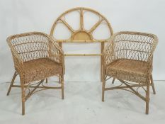 Bamboo single bed headboard and a pair of cane armchairs (3)