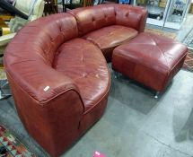 Modern red leather corner sofa and footstool(2) Condition ReportThe sofas are in fair condition,