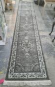 Turkish large grey ground runner, floral medallion pattern, fine pile, 500 x 100cm