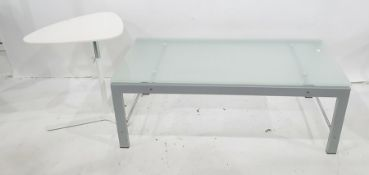 Rectangular glass-topped coffee tableandone further table(2)