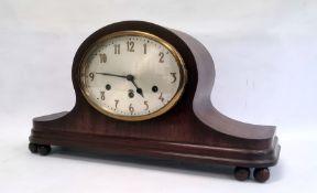 20th century mahogany cased Napoleon hat-shaped mantel clockwith Arabic numerals, 30cm high