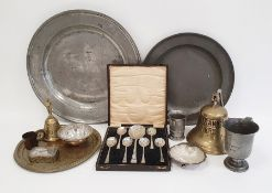 Assorted metalware to include pewter platters, brass bell marked 'Titanic 1912', brass plaque marked