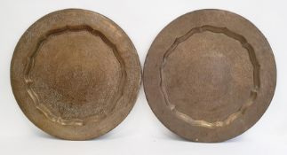 Pair of Eastern brass foliate engraved trays (2)