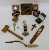Two trays of assorted items to include travel clock, gavel, dog whistle, small quantity of coins,