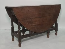 18th century and later oak gateleg tableof oval form, single drawer, turned and block supports,