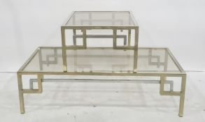 Rectangular and square glass-topped chrome based coffee tables(2) Condition Reportboth tables have