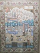 Persian school Watercolour Figures in a court, including a central figure lying on the ground