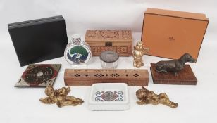 Box of assorted itemsto include resin model of dog standing on book, 20th century carved box,