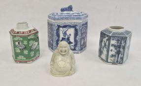 Chinese porcelain hexagonal jar and cover, underglaze blue decoration, two oriental porcelain tea