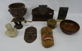 Assorted items including pipe rack, reproduction Sumerian type tablet, masks, treen etc