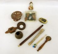 Two trays of assorted items to include large pipe, items relating to SS Great Britain, pastry