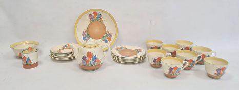 Clarice Cliff pottery part tea service'Autumn Crocus' pattern, 26 pieces viz:- teapot, sugar