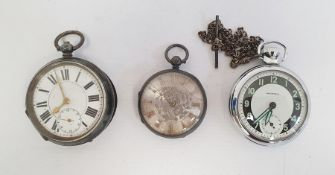 Two silver-cased pocket watches and an Ingersoll stainless steel pocket watch (3)  Condition