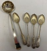 A set of four Victorian silver teaspoons, scallop and scroll decorated, initialled 'P', maker Mappin