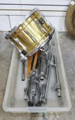 """24"""" brass drummer's crash by Paiste 3000, a Premier snare drumand assorted related accoutrements"""