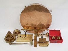 Brass gong, door furniture, weights, etc