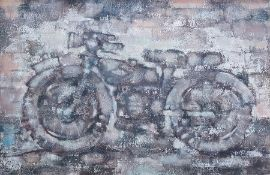 20th century school, Hugh Williams Oil on canvas Motorbike, indistinctly signed verso, 62 x