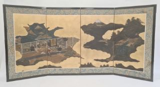 Chinese painted four-panel folding table screen with figures in building and also in gardens, fabric