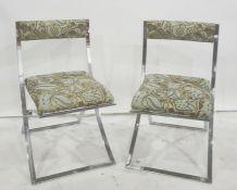 Pair modern folding chairs in chrome frames (2)
