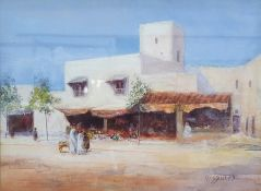 W B Bishop Watercolour Eastern suburb street scene, signed lower right, 25 x 34cm together with
