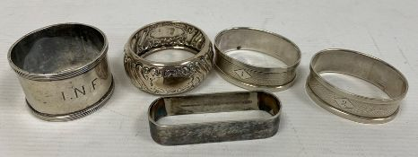 Pair 1930s silver napkin rings, oval, numbered 1 & 2, 0.6toz approx., a silver napkin ring