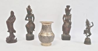 Indian bronze vase, squat baluster shaped and embossed with panels of Buddha, 12.5cm high, pair Thai