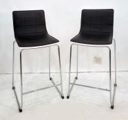 Pair of kitchen bar stools with chrome bases and black leather upholstered seats (2)