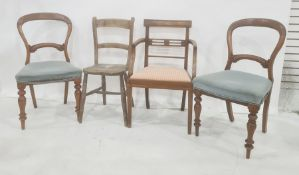 Two Victorian balloonback dining chairs, pair of cane seated bedroom chairs and two other chairs (6)