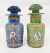 Pair possibly Bohemian stoppered glass bottles with gilt decoration and roundels, depicting