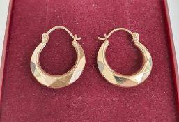 Pair 9ct gold faceted loop earrings, 1g