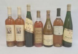 Seven bottles of white wine to include two bottles of Callinico Odysseys dessert wine, bottle of